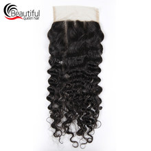 Beautiful Queen 10A Peruvian Human Hair 5*5 Lace Closure Deep Wave Free /Three Part Lace Closure 130 Density Virgin Hair 10-20(China)