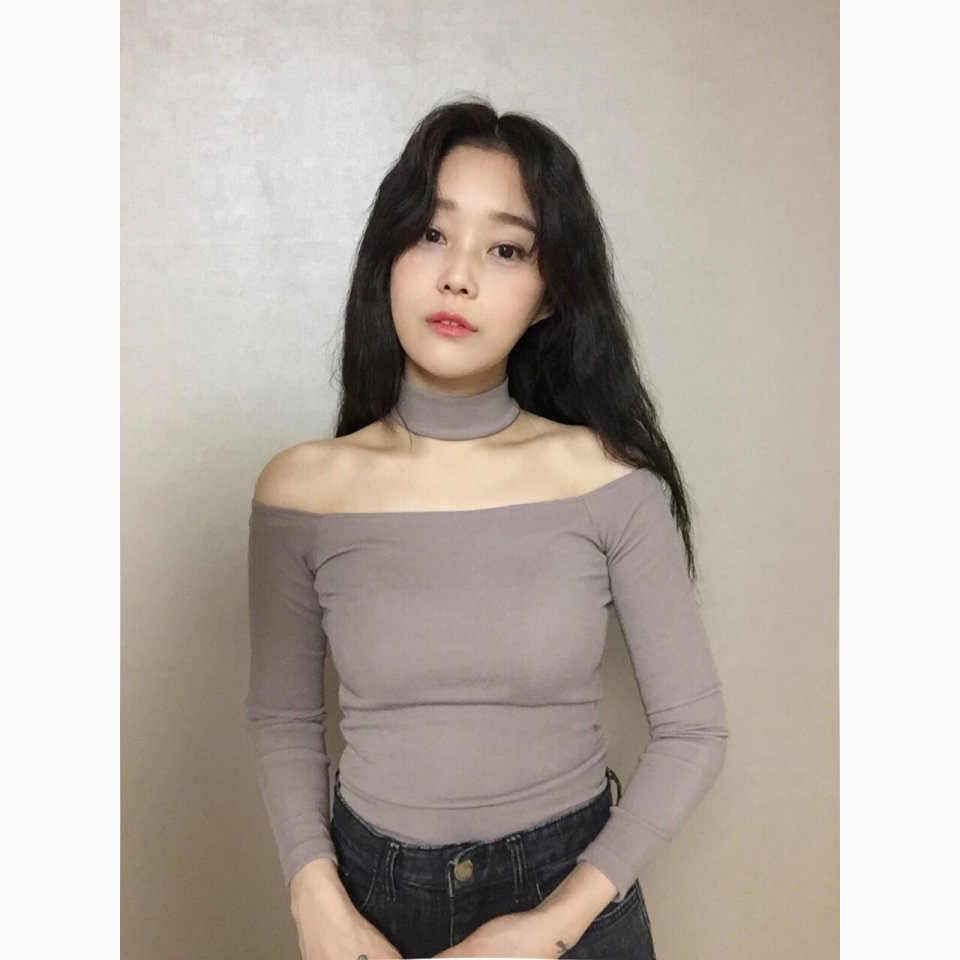0f183151444 ... Chic Ulzzang Korean Style Choker T shirt Women Long Sleeve Top Office  Autumn Spring Winter Shirt ...