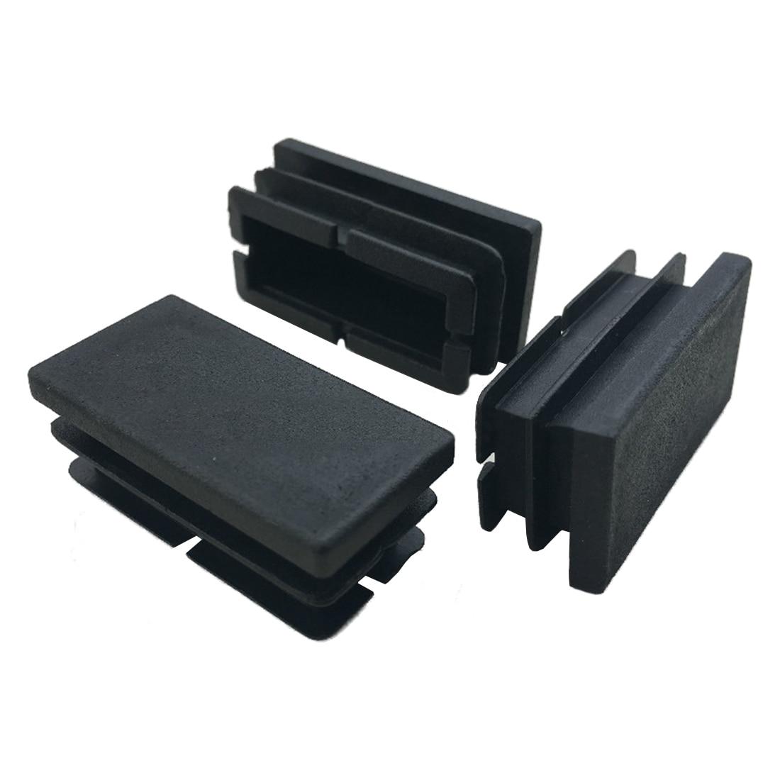 Fashion-8 Pcs Black Plastic Rectangular Blanking End Caps Inserts 20mm X 40mm