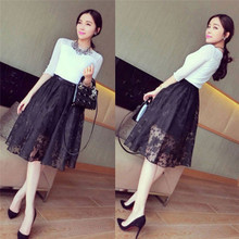 New womens pleated retro knee-length skirt elastic waist lace openwork black temperament