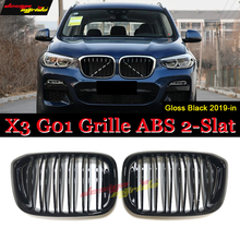X3 G01 Grille M-style ABS Gloss Black SUV Front Grills Double Slats 1-pair Bumper Kidney 2-slat 19-in