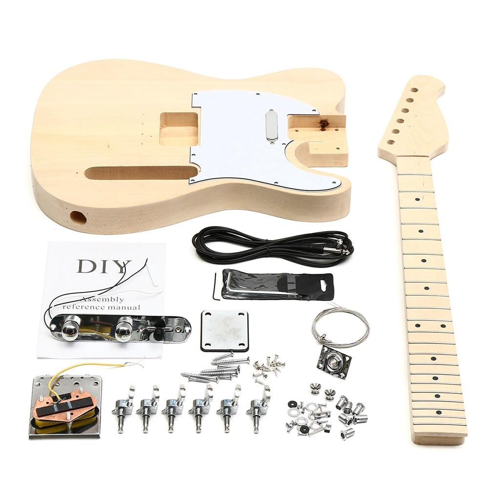 DIY Auto Assemblee Guitare Corps En Acajou Touche Palissandre Kit Enfants Musical Instrument À Cordes Artisanat Unfinished Guitare Jouet