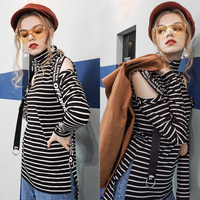 Hole T shirt Tops Women Casual Turtleneck Long Sleeve Autumn Tee Shirts Fashion Sexy Off Shoulder Slim Striped Tops One Size