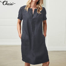 Summer Linen Dress 2019 Celmia Women Tunic Top Short Sleeve Shirt Button Female Vintage Casual Sundress Sarafans Vestidos S-5XL(China)