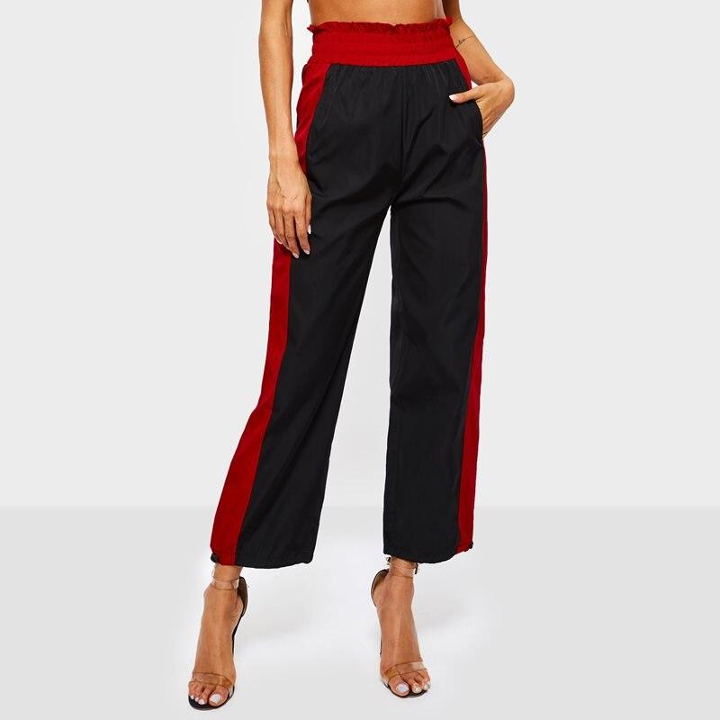 Sweatpants Women Streetwear Joggers Red Stripe Fashion Trousers School Hot Sale Black Hip Hop Loose Spring Casual   Wide     Leg     Pants