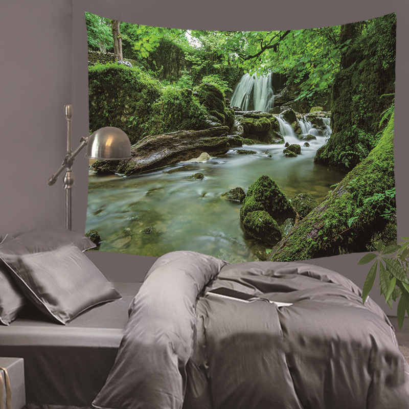 HD Scenery Tapestry Landscape Coconut Tree Night Sky Mountain Fabric Wall Hanging Decor Polyester Curtains Plus Table Cover Yoga in Tapestry from Home Garden