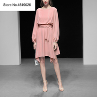 Lantern Sleeve Casual Dress 2019 Spring Women Solid Colour O neck Knee length Irregular Dresses Pretty Vestidos H6602