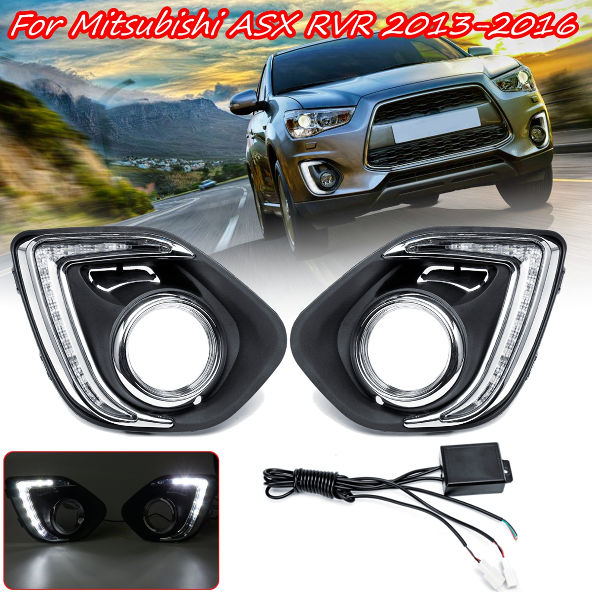 1 Pair LED DRL Daytime Daylight Running Lights 12v warning lamp car Styling lights for Mitsubishi ASX Outlander Sport 2013 2015