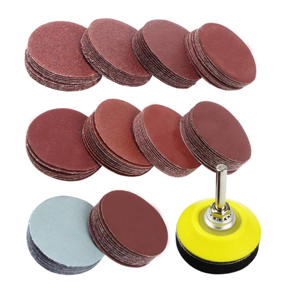 THGS 2 Inch 100PCS Sanding Discs Pad Kit For Drill Grinder Rotary Tools With Backer Plate 1/4inch Shank Includes 80-3000 Grit