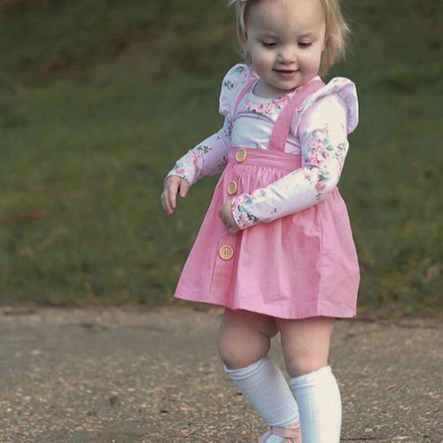 UK Newborn Toddler Kids Baby Girl Stripe Strap  Dress 2Pcs Outfits Clothes