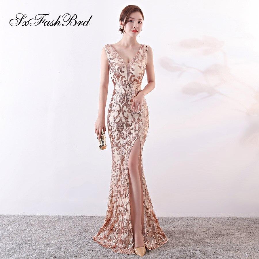 Robe Soiree New Vestidos Largos V Neck Open Back Mermaid Split Long Sequin Lace Party Women Evening Dress Sexy Prom Dresses