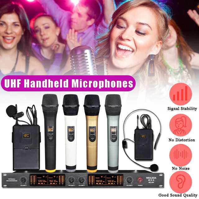 for KTV Stage UHF 4 Channel Professional LCD Wireless Microphone Cordless System Headheld Mic 110-220V LED Display Sensitive