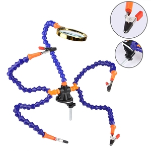 Image 4 - Manos de ayuda herramienta de soldadura de tercera mano 6 brazos flexibles Estación de soldadura de cinco brazos con vidrio de aumento, abanico para RC Dr