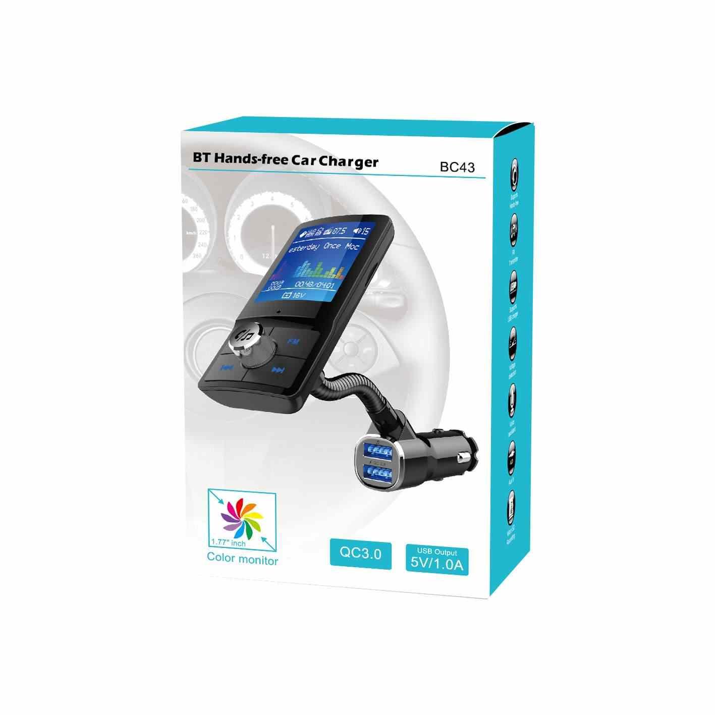 "Bluetooth FM Transmisor coche MP3 jugador con 1,8 ""LCD Pantalla de manos libres inalámbrico QC3.0 cargador de coche Kit USB Flash TF AUX"