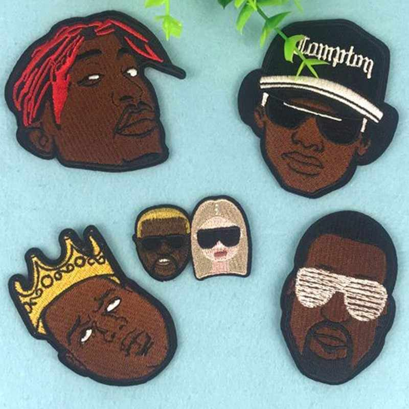 Rock Hip hop Boy Embroidery Patches Iron On 3D Indian Negro Badges DIY Decoration Clothes Stickers
