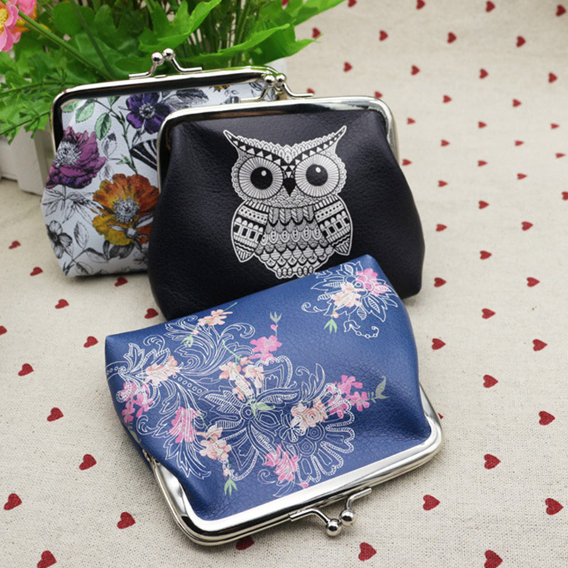 Sale Cute Owl Printing Woman Coin Purse PU Leather Small Wallet Card Holders Female Money Change Bag Wallet