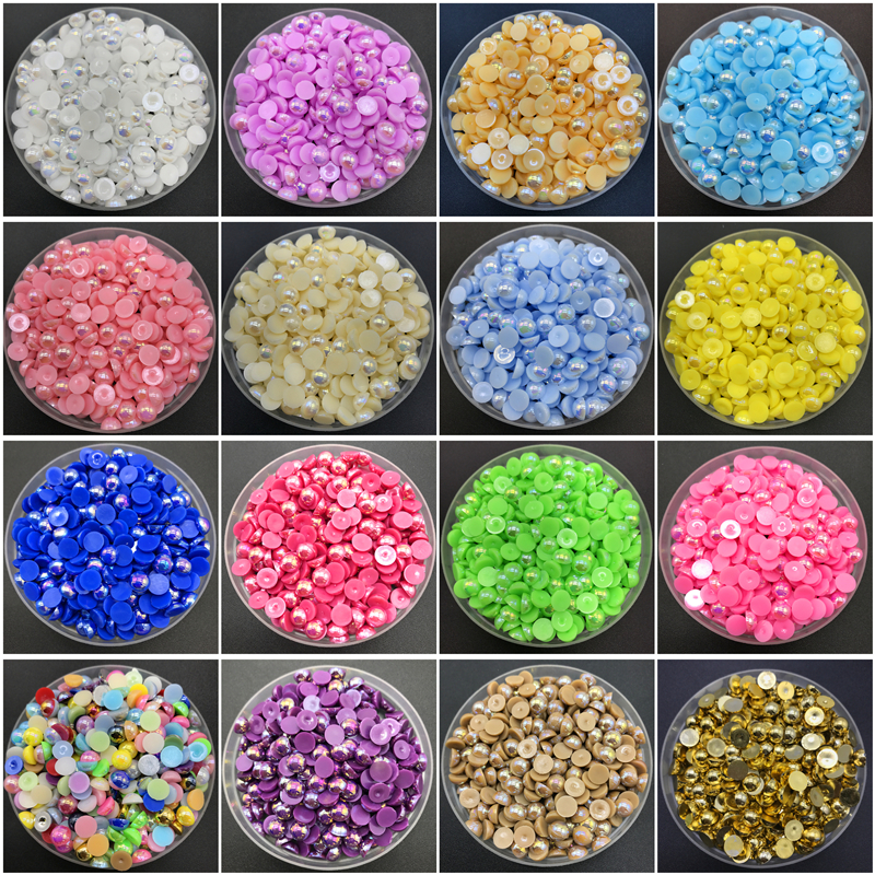 350Pc FLAT BACK PEARL CRAFT GEMS Shiny Clothes Shoes Envelope Card Decoration
