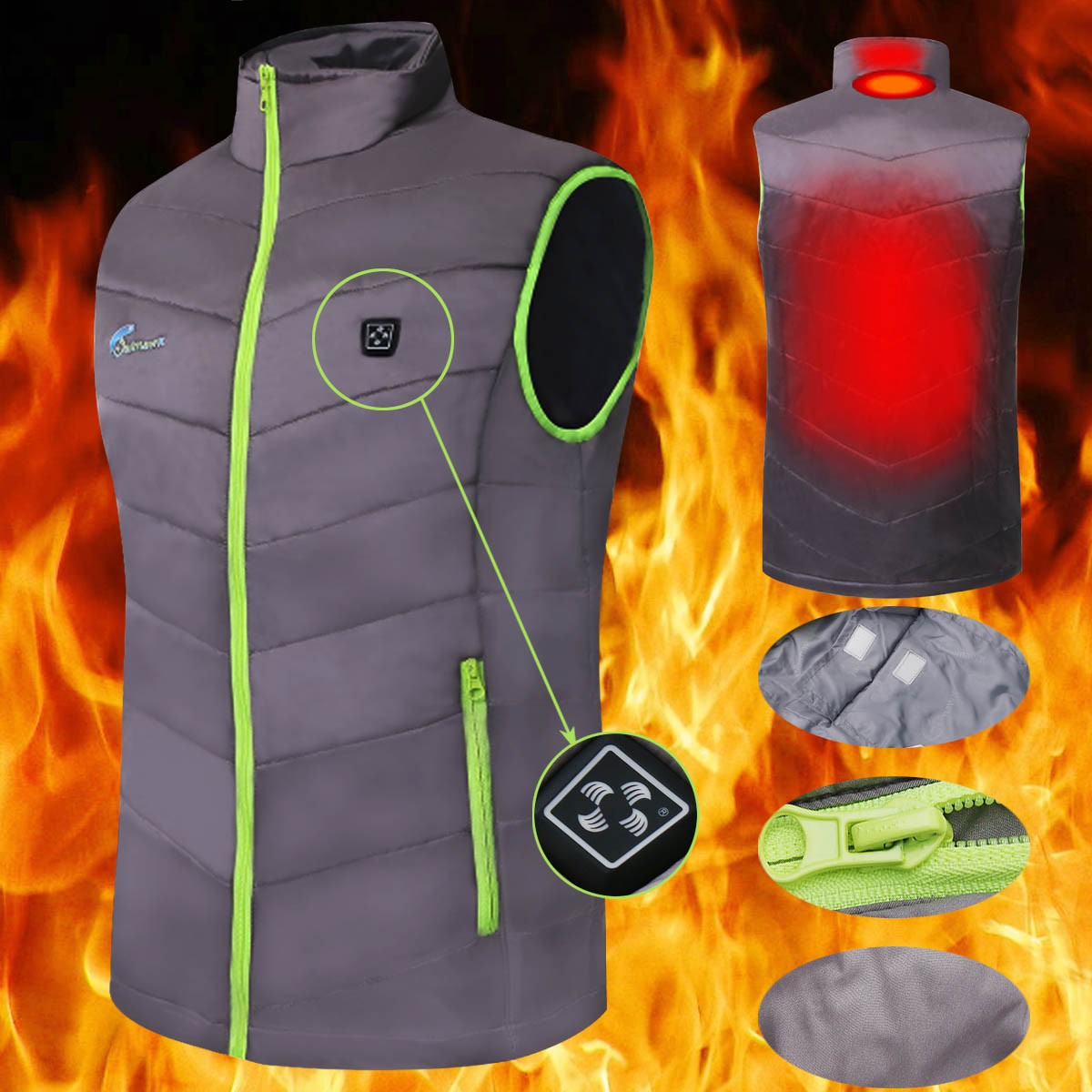 Men Women Electric Heated Vest Heating Waistcoat Thermal Warm Clothing Feather USB Power Sleeveless Gray JacketMen Women Electric Heated Vest Heating Waistcoat Thermal Warm Clothing Feather USB Power Sleeveless Gray Jacket