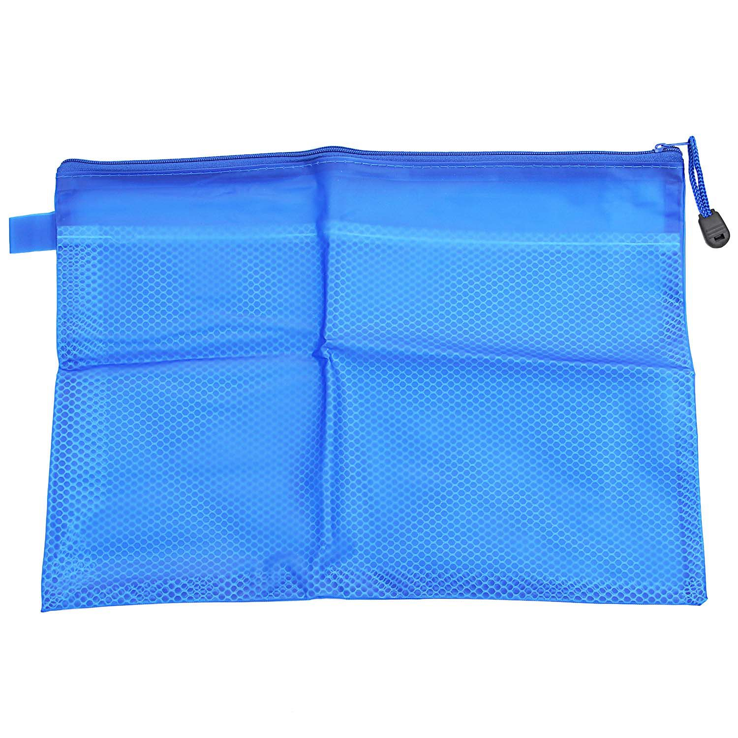 A4 Fabric Zip Portfolio Bags Filing Document Pencil Storage Holder, A4 Blue