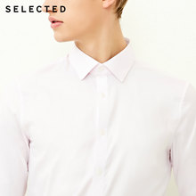 SELECTED Men's Slight Stretch Cotton-blend Pure Color Slim Fit Long-sleeved Shirt(China)