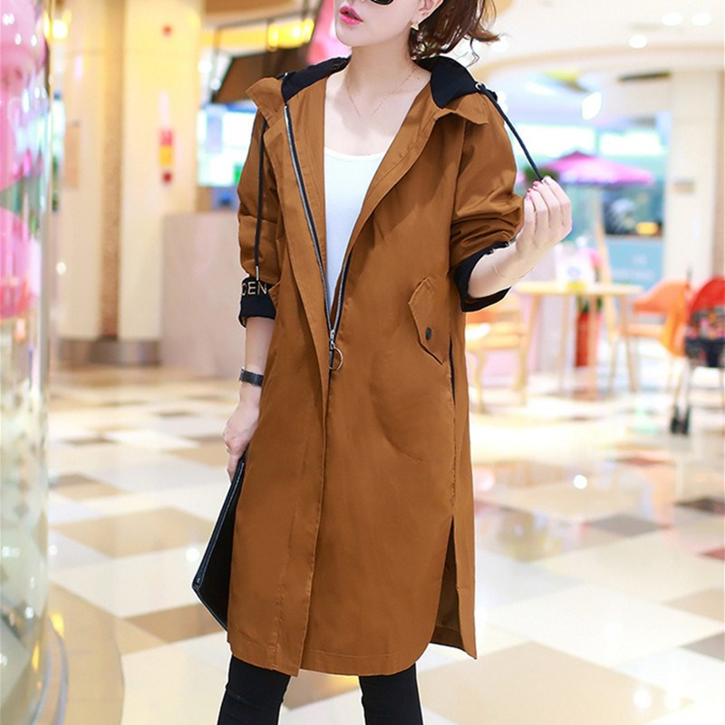 2019 Spring Autumn Trench Coat Women Causal Long Sleeve With Hood Medium Long Khaki Female Coat