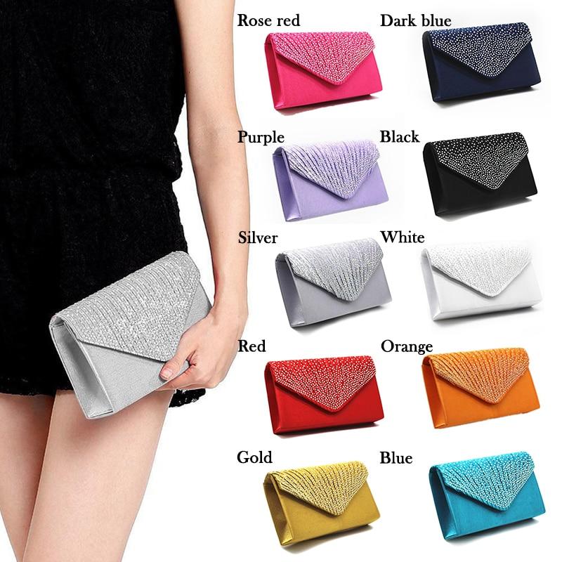 Ladies Clutch Handbag Envelop Bridal-Bag Satin Teenage-Girls Party Evening Womens Coin
