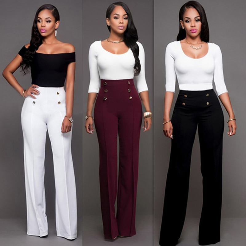 Women   Wide     Leg     Pants   Elegant Office Lady Formal Business Workwear High Waist Trousers Double Breasted Button Embellished Slacks
