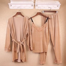 Gold Velvet 3 Pieces Home Clothes Spring Sexy Lingerie Sleepwear Long Sleeve Pants Nightgown