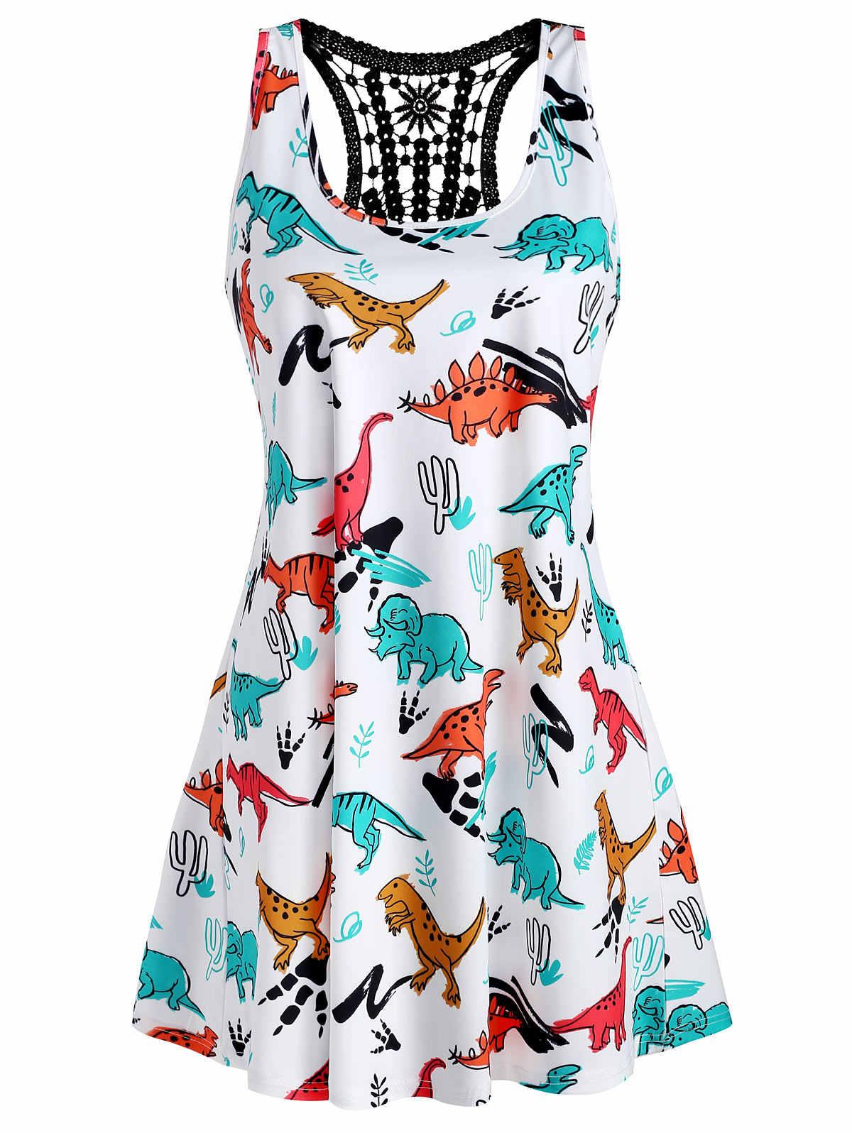 """Wipalo куртка с принтом """"динозавр"""" плюс Размеры Для женщин летнее платье без рукавов; жилет; Тэнк-Топ Кружева Топы женские майки летние топы регата Feminina 5XL"""