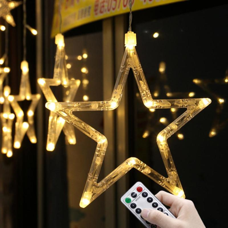 1.5m 138LED Five pointed Star String Lights Fairy String ...