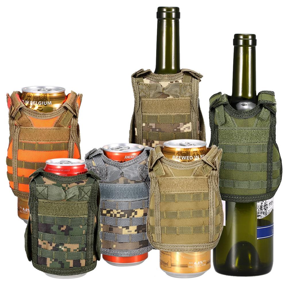 Hiking Vests Hiking Clothings Independent Tactical Beer Military Molle Vest Mini Miniature Wine Bottle Cover Vest Beverage Cooler Adjustable Shoulder Straps