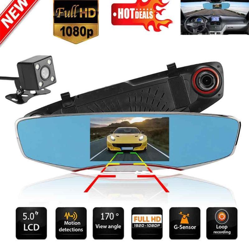 Anytek T2 HD 1080P Car DVR Camera Auto 5.0 Inch IPS Dual Lens G-Sensor Rearview Mirror Digital Video Recorder Dash Cam plusobd car recorder rearview mirror camera hd dvr for bmw x1 e90 e91 e87 e84 car black box 1080p with g sensor loop recording