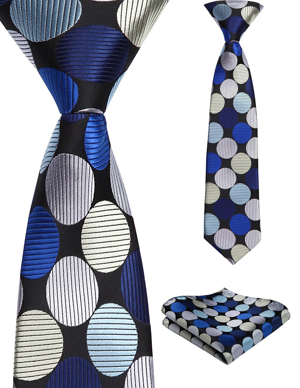 33cm Child Pre-tied Necktie For Boys Floral Dot Woven Handkerchief Kids School Parent-Child Tie  Pocket Square Set