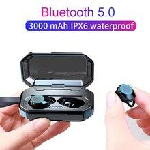 TWS Bluetooth 5,0 водонепроницаемые наушники с сенсорным управлением Беспроводные спортивные наушники с зарядным устройством 3000 мАч