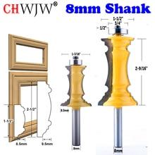 Chwjw 2 pc 8mm haste mitered porta & gaveta moldagem roteador bit conjunto cortador de madeira tenon cortador para ferramentas para trabalhar madeira