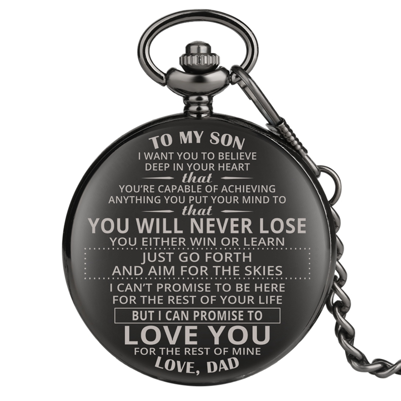 To My Son Engraved Greeting Quartz Pocket Watch Retro Black Jewelry Birthday Souvenir Gift To Son Man Clock Top Luxury Reloj