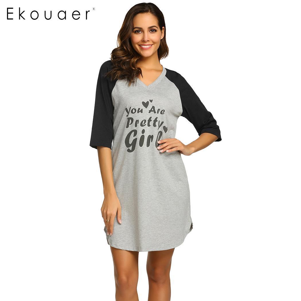 Ekouaer Women   Sleepshirts     Nightgown   Sleepwear Dress V-Neck Letters Printed Nightdress Female Cotton Night Dress Drop Shipping