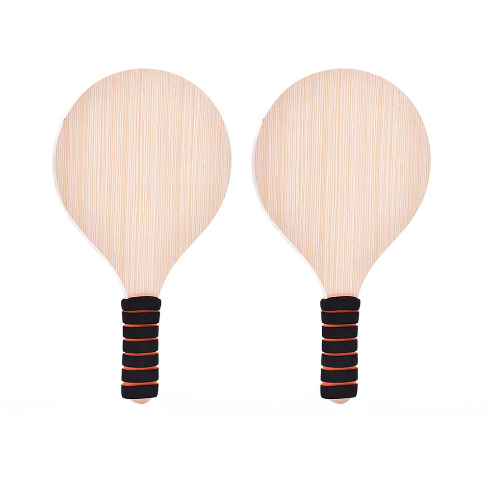 Wood Racket Paddles Set Beach Paddle Ball Game Badminton Tennis Pingpong Beach Cricket Outdoor Racquet Game For Adults Kids