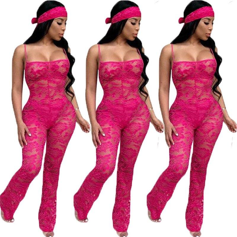 Lace Patchwork   Jumpsuit   Women Sexy Off Shoulder Sleeveless Women   Jumpsuit   Elegant Slim Wide Pants   Jumpsuit   Lace For Woman