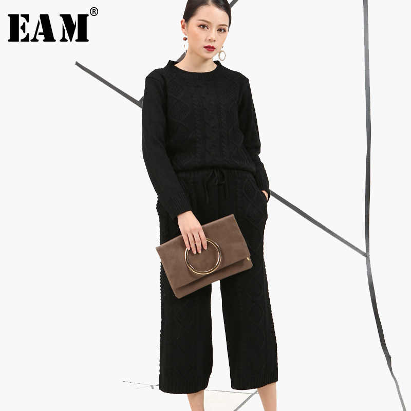 5c370d2b60e67  EAM 2019 nueva moda Primavera coreana suelto ronda Necklong manga punto  Top + Pantalones de