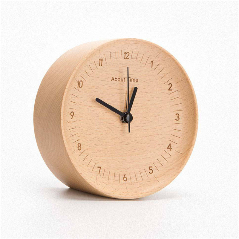 Home Decor Mute Logs Original Wooden Alarm Clock Quality Fashionable Desk Table Clock with Metal Pointers For Xiaomi About Time