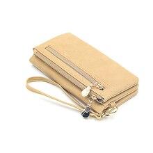 Купить с кэшбэком High Capacity Fashion Women Wallets Long Dull Polish PU Leather Wallet Female Double Zipper Clutch Coin Purse Ladies Wristlet
