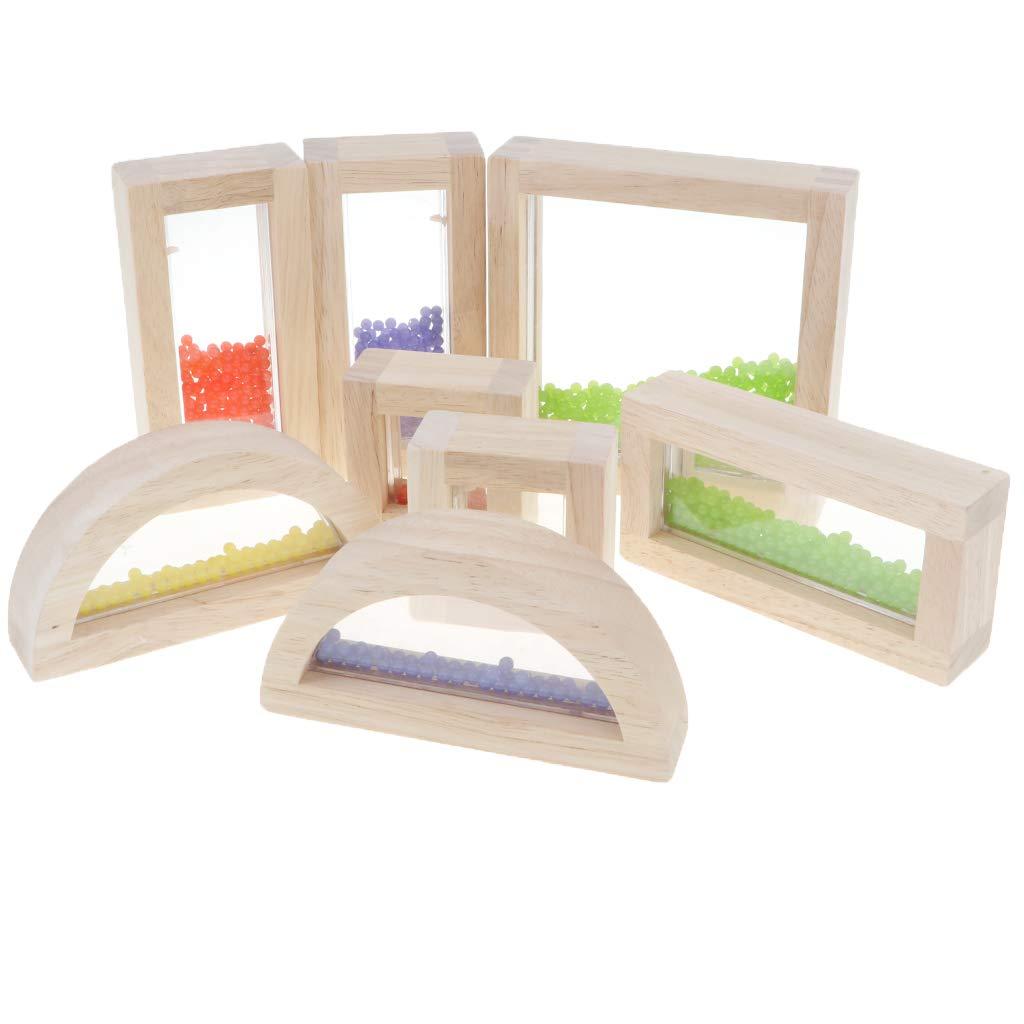 8 pièces bois acrylique Géométrique Blocs Couleur Forme Reconnaissance Montessori Sensorielle Développement jouets éducatifs pour Enfants Enfants