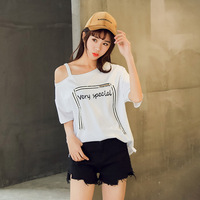one shoulder top Korean Style Sweet T shirt Short Sleeve off the shoulder tops for women Loose Skew collar summer shirt women