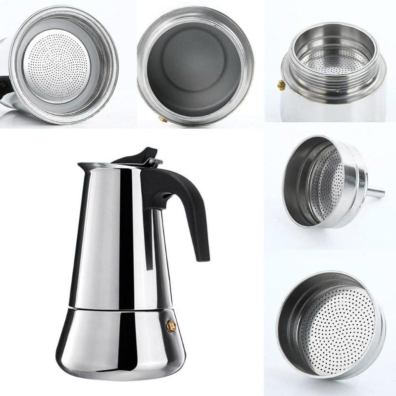 100ml/200ml/300ml/450ml Portable Espresso Coffee Maker Moka Pot Stainless Steel Coffee Brewer Kettle Pot For Pro Barista
