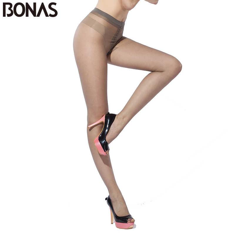 Bonasタイツ女性 15Dナイロン薄型女性のストッキング春t股セクシーなストッキングファッション固体スパンデックススリムcollantファムギフト