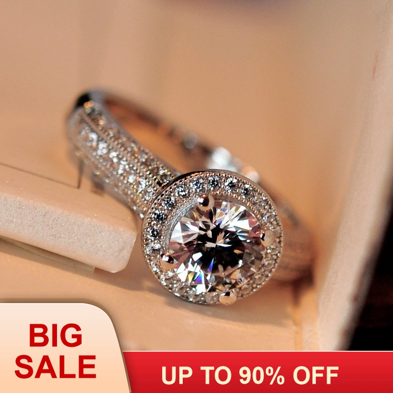 Unique 2017 Female ring Pave set 5A Zircon Cz Real 925 Sterling silver Engagement wedding band rings for women Fashion jewelryUnique 2017 Female ring Pave set 5A Zircon Cz Real 925 Sterling silver Engagement wedding band rings for women Fashion jewelry