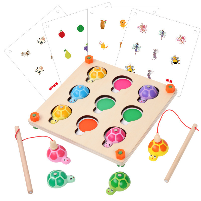 Jeu de mémoire et jeu de pêche 2 en 1 jouets Montessori en bois pour enfants d'âge préscolaire fête de famille jouet interactif 48