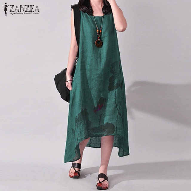 ZANZEA Linen Dress Women Summer Dresses Sleeveless Ink Painting Cotton Vestidos Ladies Mid Calf Vestido Womens Plus Size Dresses 4