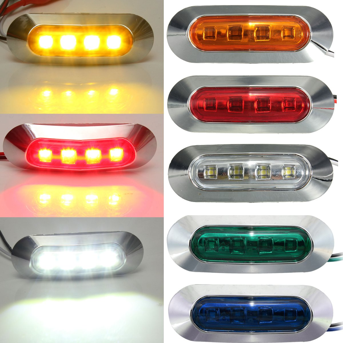 Universal 4LED Marker Parking Light Car Truck Bus Trailer Side Marker Clearance Indicators Light Side Red White Amber Blue Green